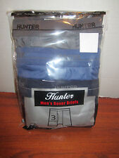 3 PAIRS OF MEN'S BOXER BRIEFS HUNTER GREY BLUE BLACK  DIFFERENT SIZE