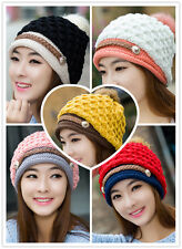 Winter Warm Women Lady Beret Braided Baggy Beanie Crochet Knit Ski Hat Cap Hats