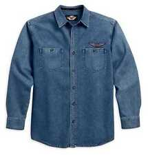 Harley-Davidson Men's Blue Denim Button Up Long Sleeve Shirt 99010-11VM