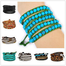 "34-36""L Hematite Agate Tigereye Cateye Beads 5 wraps wrist leather bracelet"