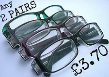 MT20/4  2 x Pairs Value Reading Glasses Choice of 4 Coloured Frames+1.5+2.0+2.5