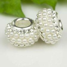 Gorgeous Pearls & Clear Crystals 925 Sterling Silver Bracelet Charm Bead