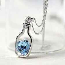 Hot Women's 9K White Gold Filled CZ & Heart Shape Crystal Necklace & Pendant