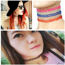 80/90s Retro Vintage Handmade Gothic Punk Stretch Tattoo Elastic Choker Necklace