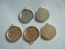 10/50 Silver/Golden Plated 22mm Round Bezel Cup Setting Pendant Blank Trays