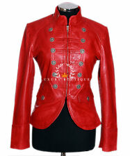 Scarlett Red Ladies Women's Short Real Washed Lambskin Leather Military Jacket