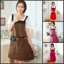 Women Kitchen Dotted Cute Bib Apron with Pocket Cooking Aprons Canvas Waterproof