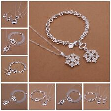 Beautiful Mens Ladies Jewelry Sets Necklace Bracelet Ring Earring Silver Plated