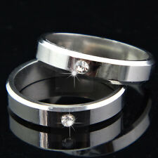 Top New 316L Stainless Steel CZ 4M Silver Ring for Women Mens Engagement Wedding