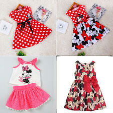 Toddler Baby Girls Kids Princess Pageant Party Mickey Dress Dot Dresses 1-6Years