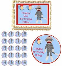 Sock Monkey Baby Shower Birthday Edible Cake Cupcake Topper Party Decorations