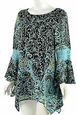 Lady Noiz SASSY Bling Brown aqua color boho tunic lace detail bell sleeves NEW