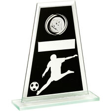 Black & Silver Glass Football Trophy,Award,3 Sizes,FREE Engraving (td521)cl