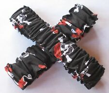 Pirate Cowboy Arm Sleeve Garters in Black/Red/White Jolly Roger Print - Pair
