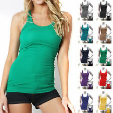 COTTON RIBBED RACERBACK TANK TOP Fitness Sport Yoga Stretch Long Junior Womens