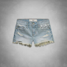 Abercrombie Women A&F High Rise Shorts Light Denim Jean Mini Destroyed Hollister