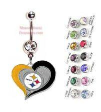 NFL PITTSBURGH STEELERS AUTHENTIC LOGO HEART CHARM DANGLE BELLY RING! NRHNFL-102