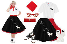 8 pc Black w/Red Poodle Skirt Outfit (1950s Retro Clothing Womens Full Costume)