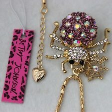 Betsey Johnson Crystal Cobweb spider Charm Pendant Necklace XL-29