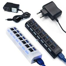 7 Ports USB 3.0 Hub with On/Off Switch+ EU/US AC Power Adapter for PC Laptop UP