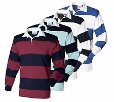 Mens Long Sleeve Rugby Shirt Sewn Stripe Casual Top S-XXL New By Front Row