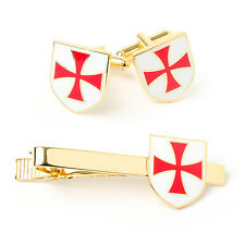New Masonic Knights Templar KT Cufflinks & Tie Slide Set