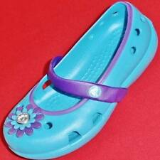 Girl's Toddler CROCS Blue/Purple Flower Clogs Slip On Casual Mary Jane Shoes NEW