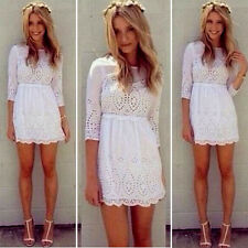 White Sexy Women Casual Lace 3/4 Sleeve Party Evening Cocktail Short Mini Dress