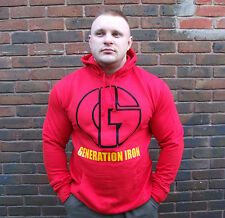 GENERATION IRON BODYBUILDING HOODIE GYM CLOTHING RED TRAINING TOP MUSCLE HOODY