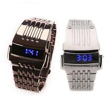 Fashion Mens LED Blue Light Date Silver Black Steel Military Sport Wrist Watch