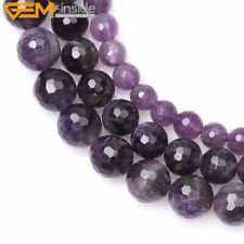 12mm Natural Faceted Round Amethyst Gemstone Jewelry Making Beads Strand 15""