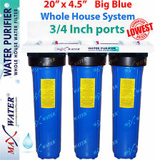 """Big Blue 20"""" x 4.5"""" BB whole house /well / Lake water filter system Iron GAC CTO"""