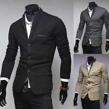 New Men Stand Colar V-Neck 3 Button Slim Fit Blazer Jacket Coat 3Size