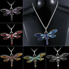 New Fashion Dragonfly Pendant Necklace Chain Tibet Silver Crystal Rhinestone