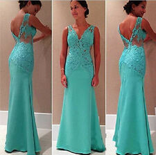 2015 ON SALE Turquoise Long Evening Slim Club Ball Formal Party Lace Dresses NEW