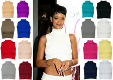 CELEBRITY LADIES WOMENS POLO HIGH NECK CROP TANKER T-SHIRTS TURTLE VEST GYM TOP