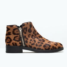 BNWT Genuine ZARA New 2015 LEOPARD PRINTED LEATHER BOOT