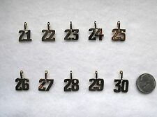 Gold Number Charm Pendant   24 Kt Gold Overlay   Numbers 21 to 30