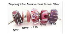 Plums Berry  Murano Glass Bead Charms - buy one or set.  BELOW WHOLESALE - .925