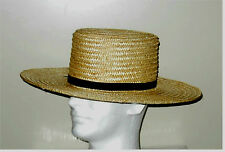 "STRAW HAT - Handmade in the USA by Amish - Civil War, Civilian, Wide 4"" Brim"