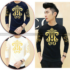 Gothic Men Rare Special Totem Embroidery Pattern Vintage Slim Fit Casual T-shirt