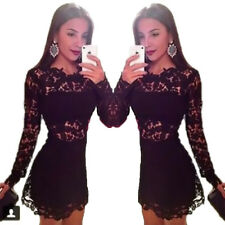 Women's Floral Print Long Sleeve Crew Neck Hollow Lace Sexy Cocktail Mini Dress
