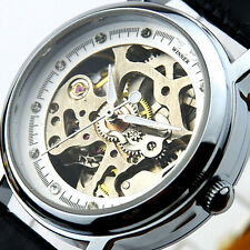 CA Womens Automatic Mechanical PU Leather Heart Hollow Wrist Watch Skeleton