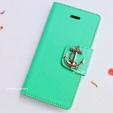 Anchor phone wallet case Mint Silicone cover For iPhone 4 5S 6 Plus Handmade