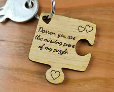 Personalized Jigsaw Piece Valentines Day Keyring Present Gift Key Heart Him Her
