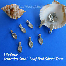 Aanraku Leaf Bails Small - 16x6mm Silver Tone Glue on Bails for Pendants