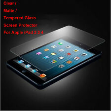 Tempered Glass/Clear/Matte Film Front Screen Protector For Apple iPad 2 3 4 Lot