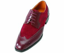 Bolano Men's Faux Suede Perforated Burgundy Lace Up Wing Tip Oxford Dress Shoes