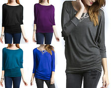 3/4 Sleeve Basic Dolman Top Jersey Women Solid Tee Shirt Blouse Boatneck Tunic
