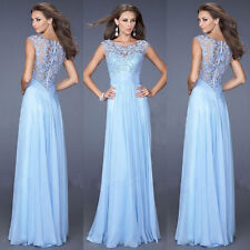 Lace Long Formal Chiffon Party Ball Gowns Evening Prom Bridesmaid Dresses 6-16
